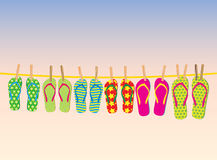 Flip-flops on a rope Royalty Free Stock Photography