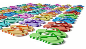 Flip Flops. In the row. Isolated on the white Royalty Free Stock Image
