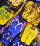 Flip flop shoes on rack in shop Stock Image