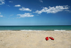 Flip flops on sand. Red flip flops on the sand next to the sea royalty free stock photos