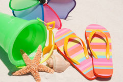 Flip flops on sand dune Royalty Free Stock Photography