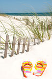 Flip flops on sand dune Stock Photo