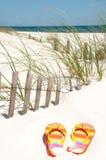 Flip flops on sand dune stock photo
