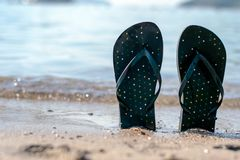 Flip flops in the sand royalty free stock photography