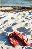 Flip flops on the sand. A pair of orange flip flops on a white beach with a view of ocean water blurred in the foreground Royalty Free Stock Photo
