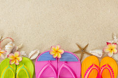 Flip Flops in the sand with shells and frangipani Royalty Free Stock Photo