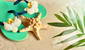Flip Flops in the sand with starfish . Summertime. beach concept. Royalty Free Stock Photography