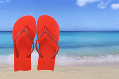 Flip Flops sandals in summer on beach and vacation with copyspac Royalty Free Stock Photos
