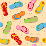 Flip Flops Seamless Pattern. A seamless pattern with colorful flip flops or beach sandals. Useful also as design element for texture, pattern or gift wrapping Royalty Free Stock Photos