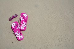 Flip-flops and shades. Pink flip-flops and sun glasses on the sand at the beach royalty free stock photography