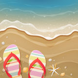 Flip-flops and shells on the beach stock illustration