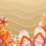 Flip-flops and shells on sand background. Vector illustration Royalty Free Stock Images