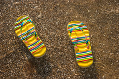 Flip flops on the shore. Transparent water with sand. Summer holidays at tropical island. Voyage to the sea royalty free stock photo