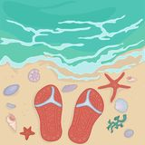 Flip flops on the shore Royalty Free Stock Photos
