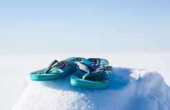 Free Flip Flops Snow Stock Photography - 30015952