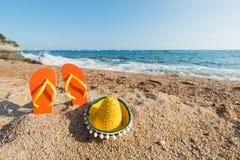 Flip flops at the Spanish beach Stock Image