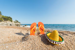 Flip flops at the Spanish beach Royalty Free Stock Images