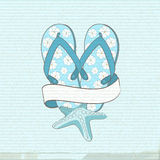 Flip flops starfish and banner Stock Images