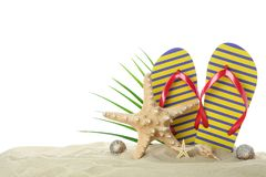 Flip flops with starfish, seashells and palm leaf on clear sea sand isolated on white background. Summer vacation stock photo