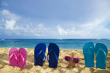 Flip flops and starfish with sunglasses on sandy beach. In Hawaii, Kauai stock images