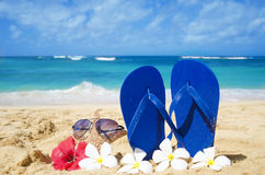 Flip flops and starfish with sunglasses on sandy beach. Flip flops and starfish with sunglasses with tropical flowers on sandy beach in Hawaii, Kauai Stock Photos