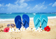 Flip flops and starfish with sunglasses on sandy beach. Flip flops and starfish with sunglasses with tropical flowers on sandy beach in Hawaii, Kauai Royalty Free Stock Photo