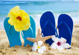 Flip flops and starfish with tropical flowers on sandy beach Stock Photos