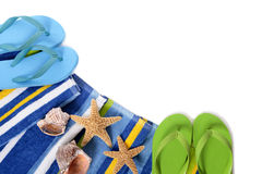 Flip flops and summer beach objects isolated on white background Stock Photos