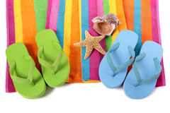 Flip flops and summer beach objects isolated on white background Royalty Free Stock Image