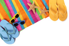 Flip flops and summer beach objects  on white background Stock Photography