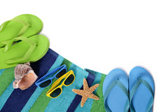 Flip flops and summer beach objects  on white background Royalty Free Stock Photos