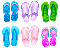 Flip flops Summer Icon Set. Vector Illustration Stock Illustration