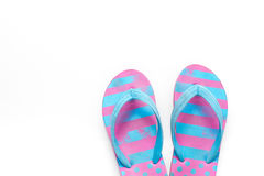 Flip flops. Summer flip flops isolated on white background. Top view stock image