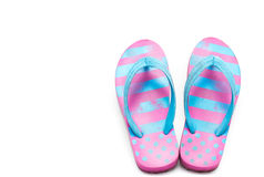 Flip flops. Summer used flip flops isolated on white background. Top view royalty free stock photo