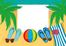 Flip-flops and sunglasses and chaise longue with a ball Royalty Free Stock Image