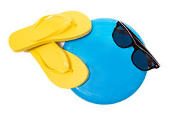 Flip Flops Sunglasses And Frisbee On White. Nice combination of flip flops, Frisbee with copy space, and sunglasses, isolated on a white background Royalty Free Stock Photo