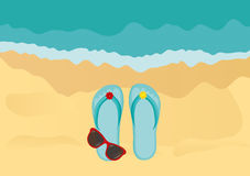 Flip-flops and sunglasses on the sandy shore of the ocean. Vector Stock Images