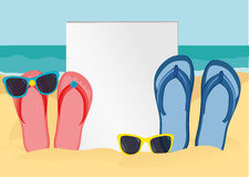 Flip-flops and sunglasses on the sandy shore of the ocean. Vector Royalty Free Stock Photography