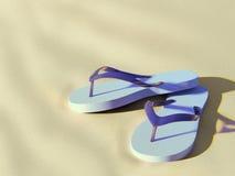 Flip flops on sunny beach. Pair of light blue flip flops on beach, close to sundown Royalty Free Stock Image