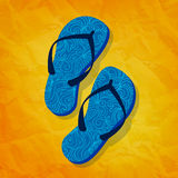 Flip flops on sunny vector background Stock Photo