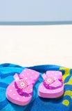 Flip flops on towel Royalty Free Stock Image