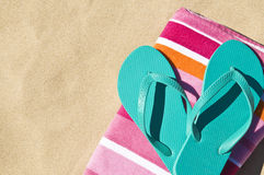 Flip-flops on towel. Royalty Free Stock Images