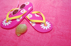 Flip Flops on towel Royalty Free Stock Images