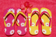 Flip flops on towel Royalty Free Stock Photography