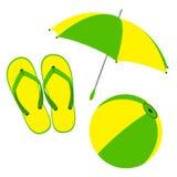Flip flops, umbrella and ball Royalty Free Stock Photos