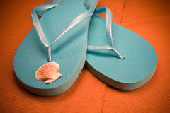Flip Flops und Shell stockfoto