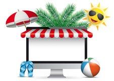 Flip-flops vermelhos do para-sol de Sun das palmas do toldo do monitor do PC ilustração stock