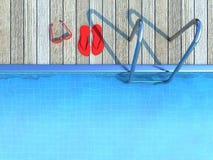Flip-flops vermelhos e óculos de sol por uma piscina ilustração royalty free