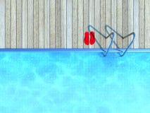 Flip-flops vermelhos por uma piscina Fotos de Stock Royalty Free