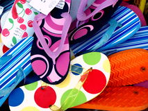 Flip-flops waiting for the beach. Flip-Flops in an shop on the North-Sea-Island Borkum in Germany. I love these colours Stock Photography
